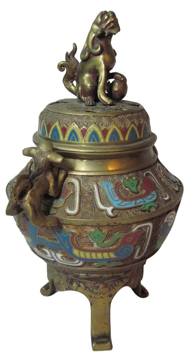 Bronze Foo Dog Chinese Incense Burner