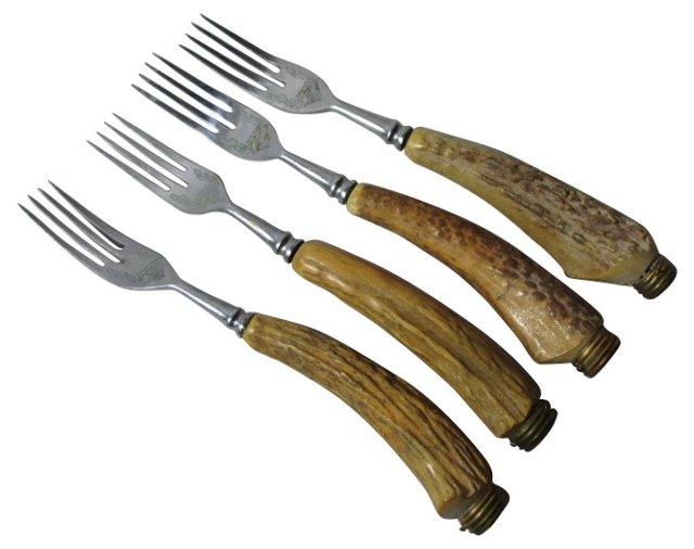Germany Stag Horn Handled Forks, S/4