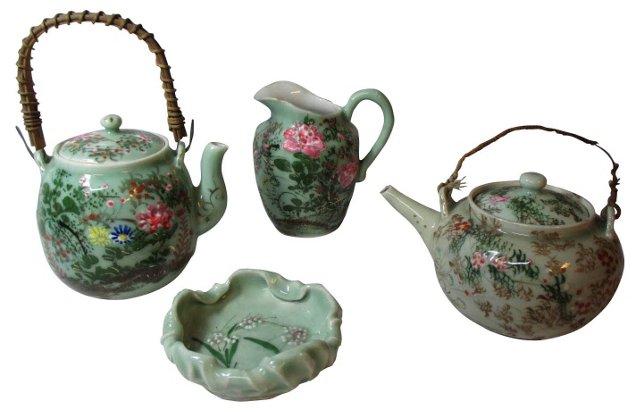Chinese Celadon Set, 4 Pcs