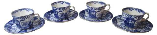 Crown Derby Mikado Cups & Saucers, S/4