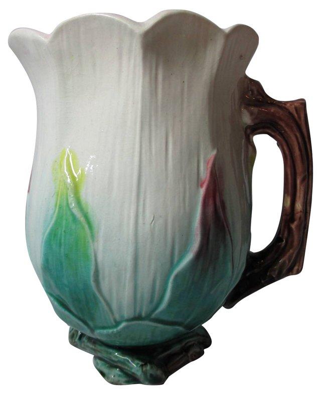 Majolica Tulip Pitcher
