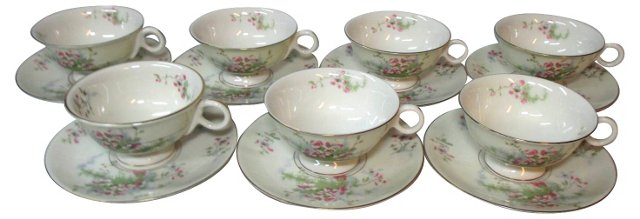 Apple Blossom Cups & Saucers, S/7