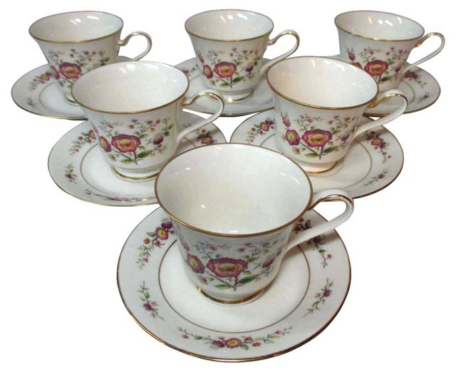 Noritake Asian Song Cups & Saucers, S/6