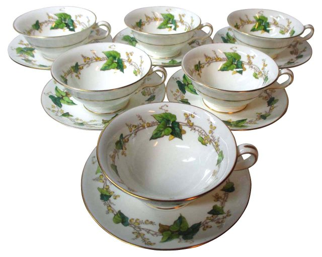 Minton Ivy Garland Cups & Saucers, S/6