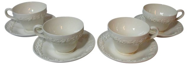 White Queensware Cups & Saucers, S/4