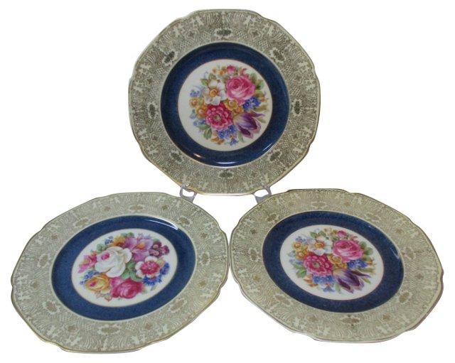 Spring Flowers & Gold Dinner Plates, S/3