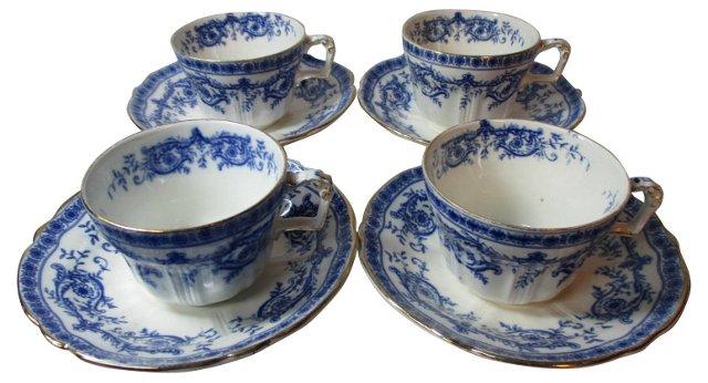 Ridgway Flow Blue Cups & Saucers, S/4