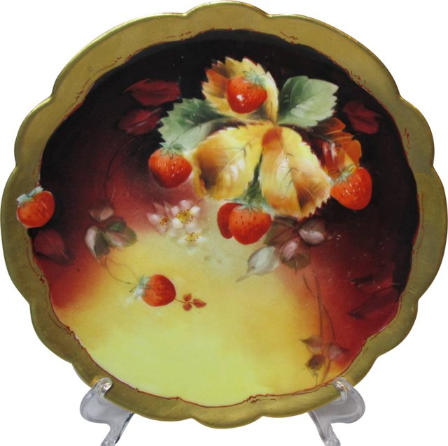 Pickard Strawberries Hand-Painted Plate