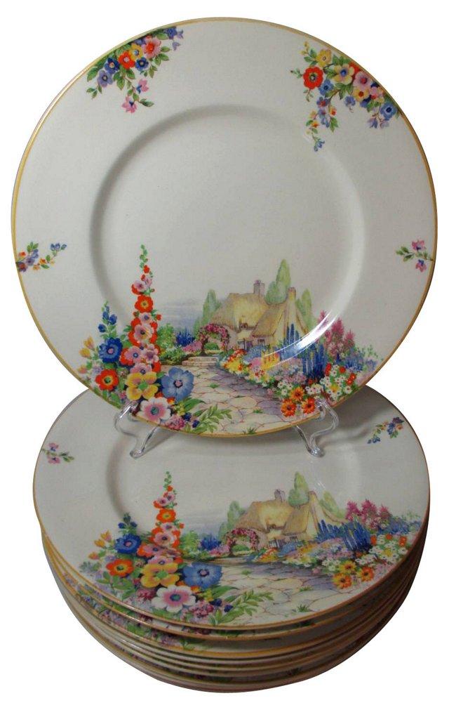 Cottage Gardens Dinner Plates, S/10