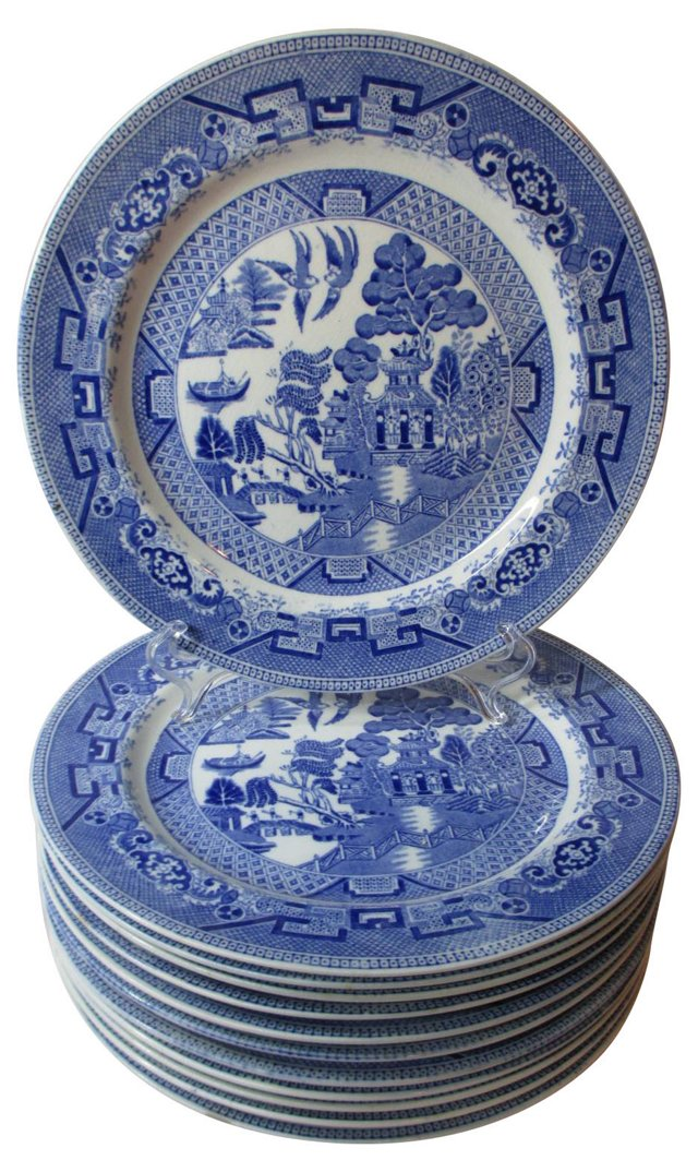 English Blue Willow Dinner Plates, S/12
