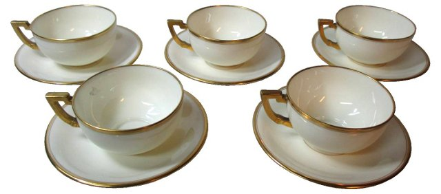 Lenox for Tiffany Cups & Saucers, S/5