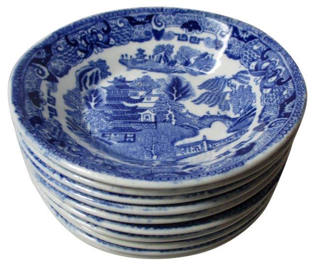 English Blue Willow Dessert Bowls, S/10
