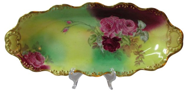 Limoges Hand-Painted Roses Bread Tray