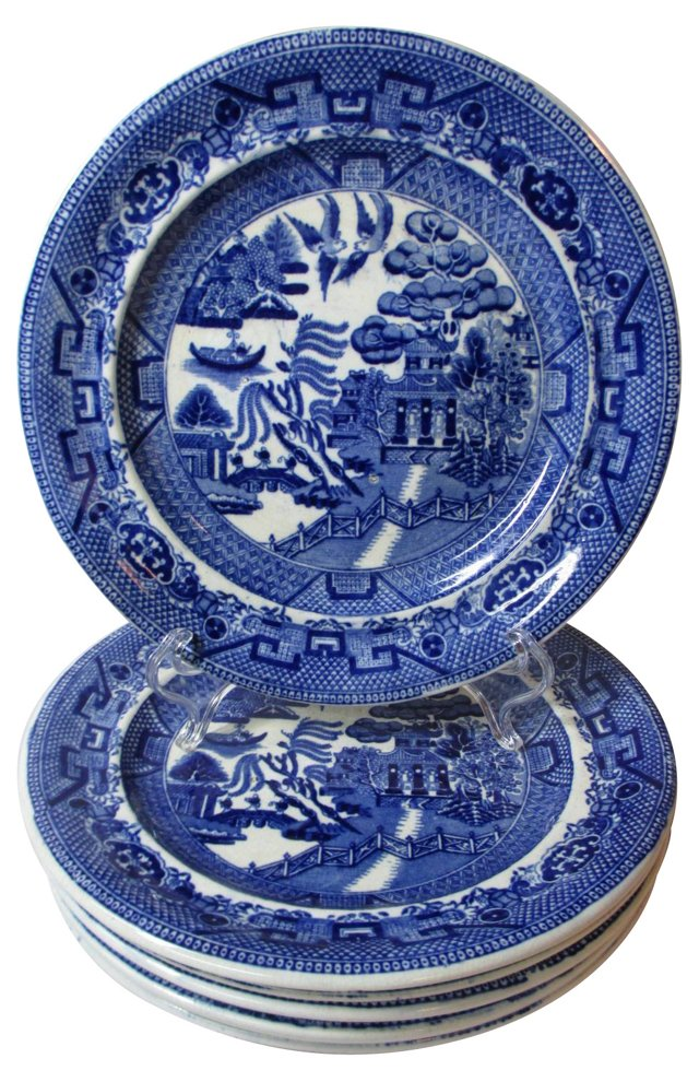 English Blue Willow Luncheon Plates, S/6