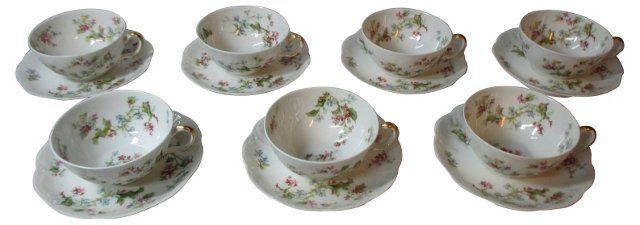 Floral Haviland Cups & Saucers, S/7