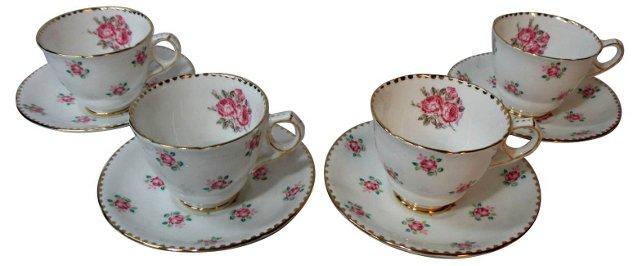 English Tudor Rose Cups & Saucers, S/4