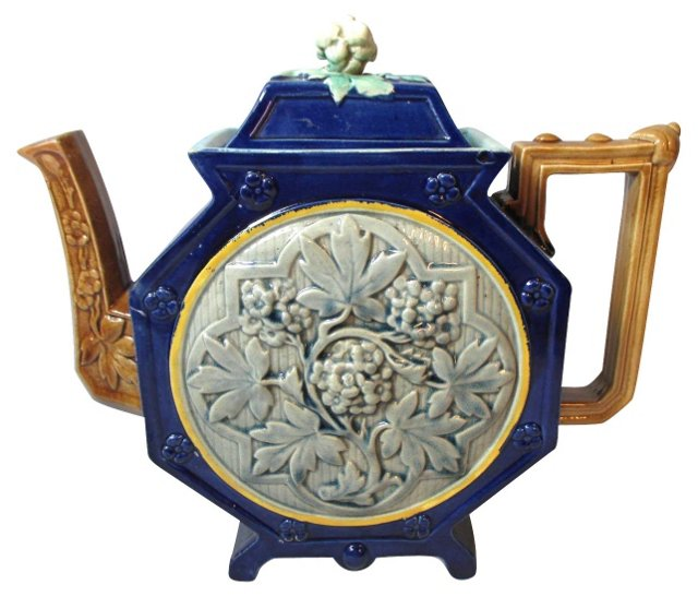 English Majolica Chinoiserie Teapot