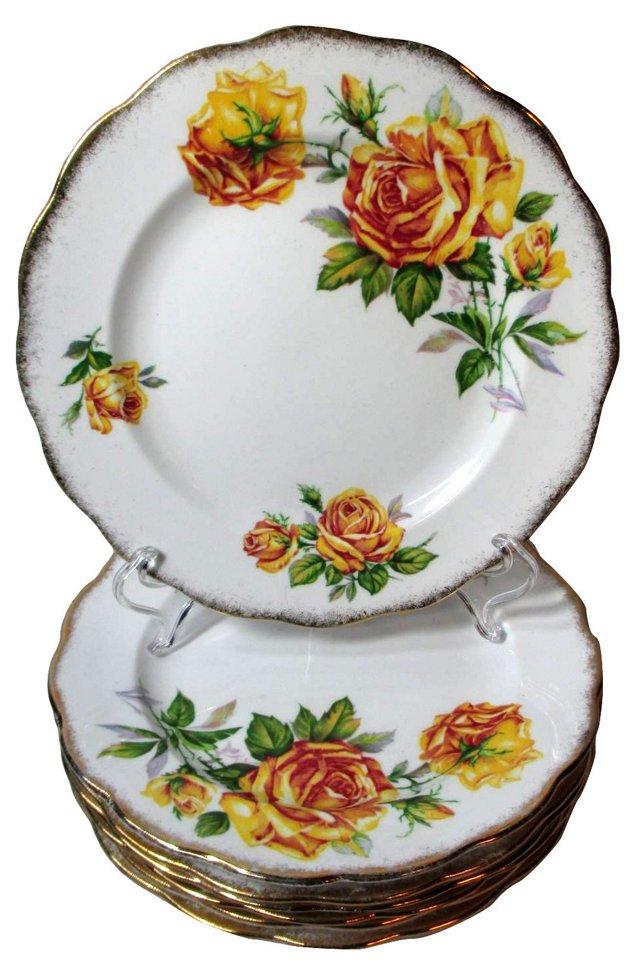 Yellow Roses Dessert Plates, S/7