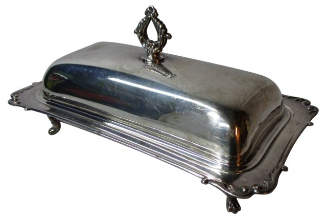 Silverplate Footed Butter Dish, 3 Pcs