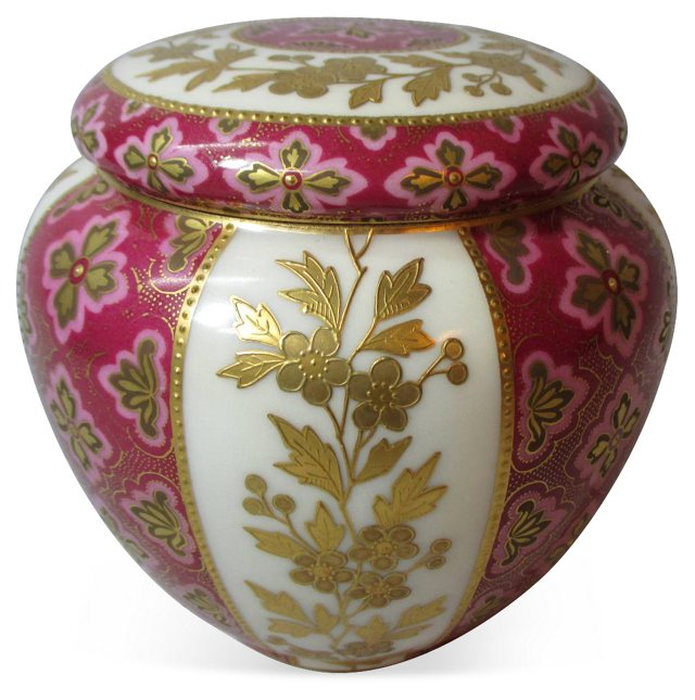 Limoges Hand-Painted Lidded Jar