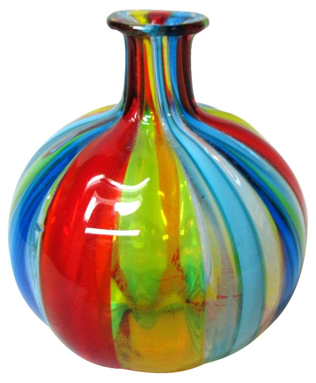 Murano Ribbon Glass Posey Vase
