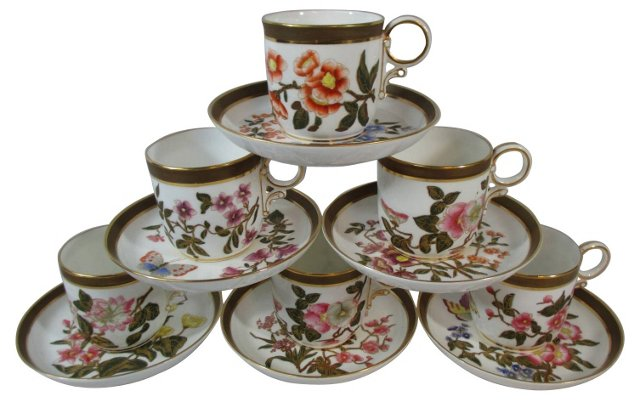 Worcester     Cups & Saucers, S/6