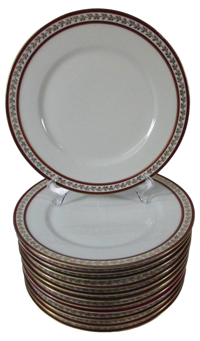 Haviland Red & Gold Dinner Plates, S/12