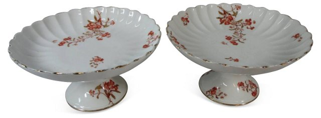 French Floral Compotes, Pair