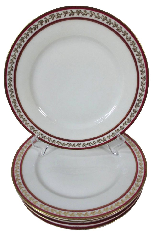 Limoges Red & Gold Luncheon Plates, S/5