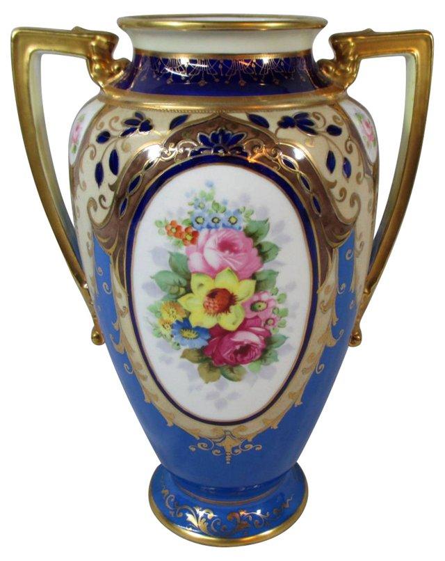 Noritake Hand-Painted Gold & Floral Vase