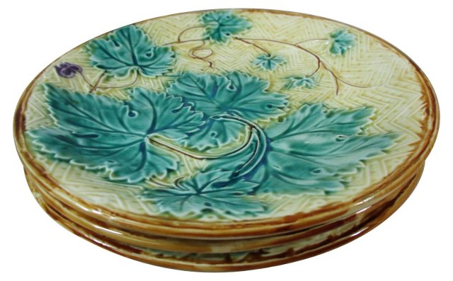 French Majolica Grape Leaves Plates, S/3