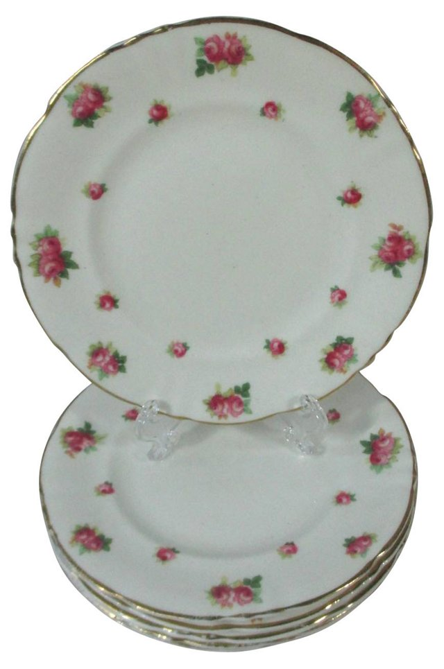 Royal Doulton Roses Dessert Plates, S/6