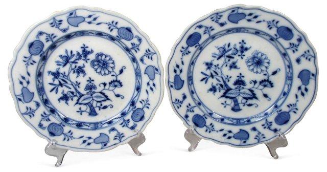 Meissen Blue Onion Luncheon Plates, Pair