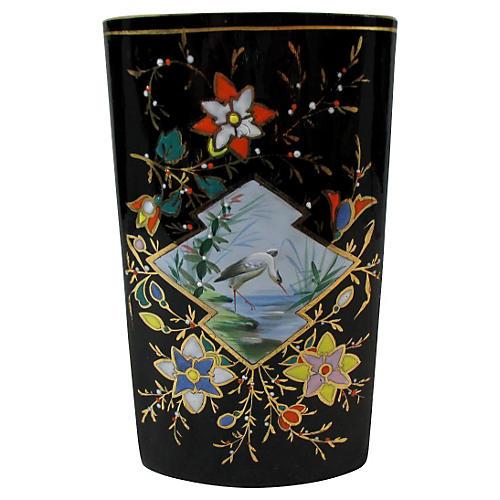 French Enameled Amethyst Art Glass Vase
