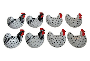 Rooster & Hen Side Dishes, S/8