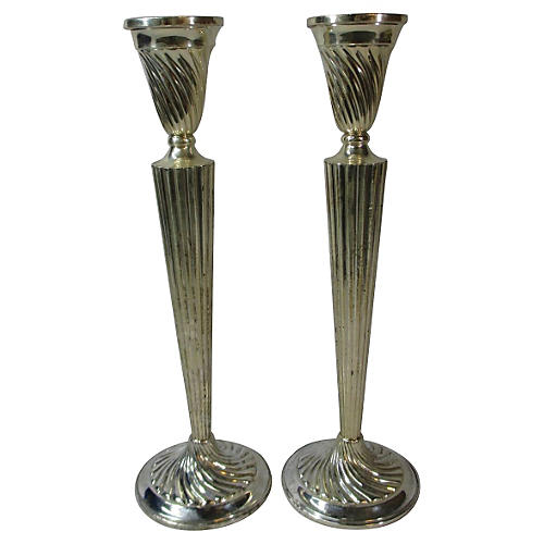 Tall Swirled Sterling Candlesticks, S/2