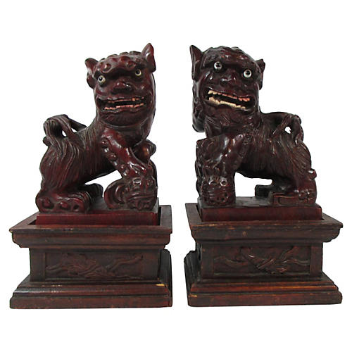 Chinese Carved Foo Dogs & Stands, Pair