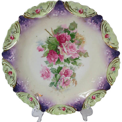 RS Prussia Pink & Red Roses Plate