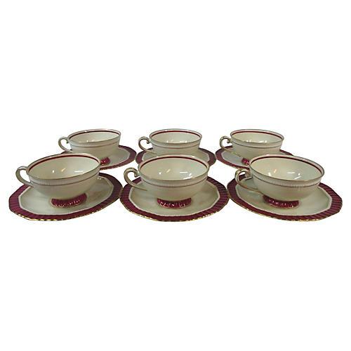 Bavarian Magenta Cups & Saucers, S/6