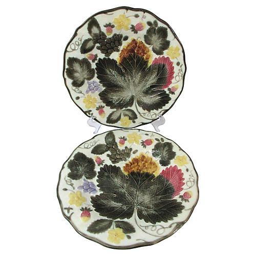 Antique Wedgwood Majolica Plates, Pair