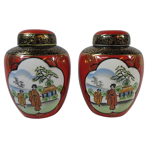 Scenic Lidded Ginger Jars, Pair
