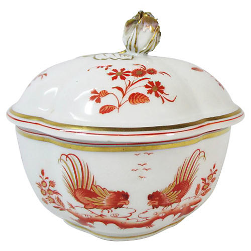 Ginori Rose Finial Roosters Covered Dish