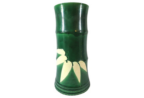 Large Majolica Emerald Green Leaf Vase