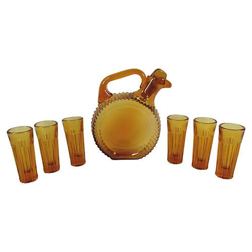 Amber Glass Liqueur Set, S/7
