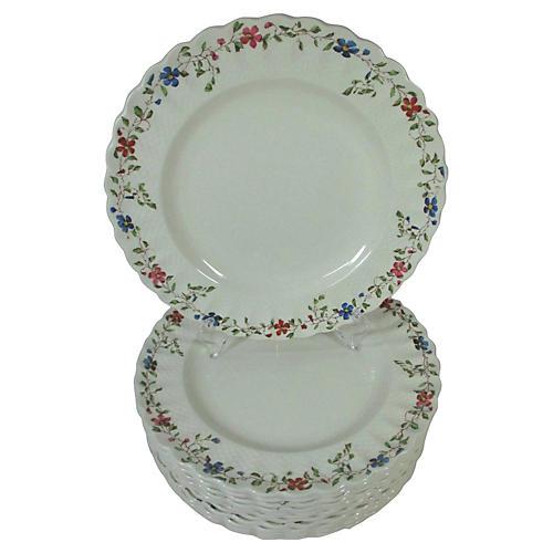 Spode Basket & Floral Dinner Plates,S/12
