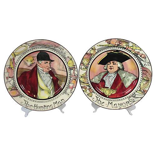 Doulton Mayor & Hunting Man Plates, Pair
