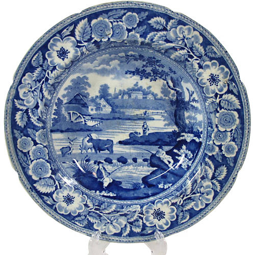Antique Staffordshire Scenic Wall Plate