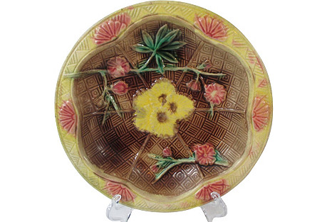 Majolica Floral Shallow Cabinet Bowl