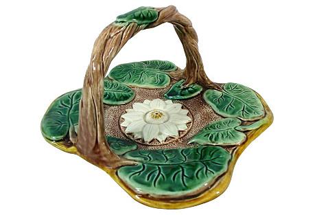 Majolica Square Lily Pad Handled Basket