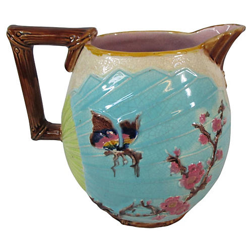 Bird & Butterfly Large Majolica Pitcher